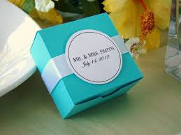 personalized wedding favor boxes 50 blue wedding favor boxes with personalized white tag