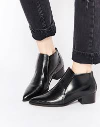 womens boots h m bronx stripe patent pointed toe ankle boots shoes