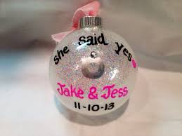 engagement ornament she said yes christmas ornament personalized