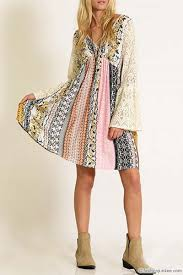 plus size hippie boho printed dress with lace bell sleeves mustard