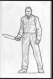 michael myers halloween statue warm up sketch by kongspencil on