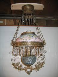 Antique Chandeliers For Sale Antique B U0026 H Library Kerosene Hanging Oil Lamp Lighting For Sale
