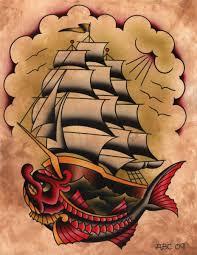 vintage pirate ship tattoo design