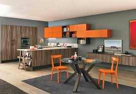 peinture orange cuisine design interieur couleur cuisine peinture murale grise armoires