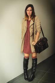 black boots brick red dresses tan coats heather gray socks