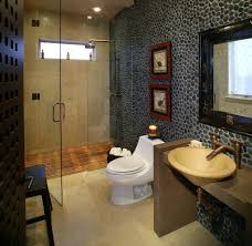 cobblestone wall bathroom asian with asian art teak shower benches