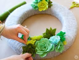succulent wreath a fresh felt succulent wreath tutorial think make