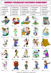 vocab worksheets printable hobbies and interests vocabulary matching exercise worksheet icon