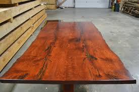 staining a table top stained red oak table live edge corey morgan