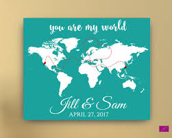 Personalized World Map by Wedding Guest Book Alternative World Map Guest Book Canvas Or