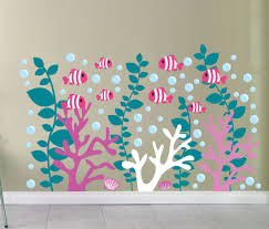 school of fish etsy coral reef decals coral wall decal under the sea decals fish decals