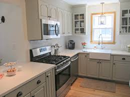 Gray Cabinet Kitchen by Corian Linen Counters Gray Cabinets Farmhouse Sink Our House