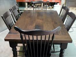 harvest dining room table rustic walnut harvest table suite with distressed blackwood chairs