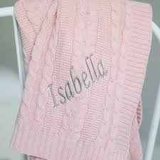 personalised pink cable knit blanket my 1st years