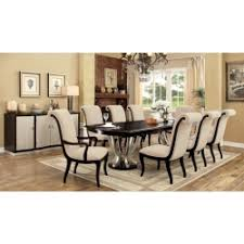 espresso dining table with leaf 7 pc ornette collection contemporary style espresso and silver