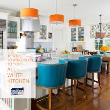 Turquoise Kitchen Island by 10 Ways To Add A Pop Of Color To Your All White Kitchen