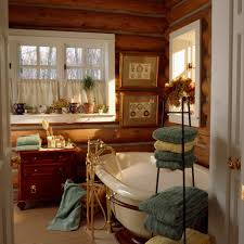 showing natural ambiance through rustic bathroom design hort decor