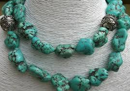 turquoise tibetan necklace images Necklace with tibetan turquoise nuggets and 925 sterling silver jpg