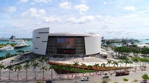aerial tour of the american airlines arena miami fl usa stock