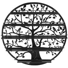 Essential Oil Amazon Amazon Com Tree Silhouette Black Round Metal Wall Mounted 5 Tier