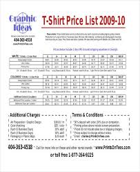 sample price list