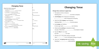 changing tense worksheets changing tense past future present