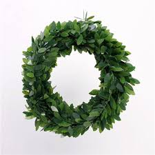 wire plastic emulation green leaves 80g wreath big small