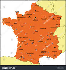 France Map With Cities by Colored Map France All Big Cities Stock Illustration 27423571