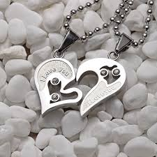 couple necklace chains images Mens stainless steel chain black heart love necklaces for couples jpg