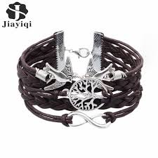 infinity charm leather bracelet images Owl leaf charm bracelet bangles jewelry friendship gift jpg