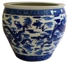 large asian blue u0026 white ceramic planter modern indoor pots