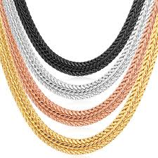 yellow jewelry necklace images Kpop yellow gold rose gold silver black color foxtail chain jpg