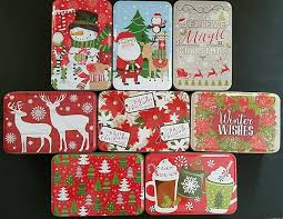Christmas Gift Boxes Large Lot Of 10 Christmas Holiday Cookie Tins With Lids Nesting Gift