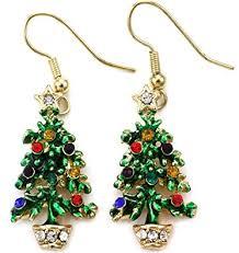 happy colorful christmas tree earrings hoop dangle