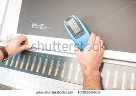 color spectrometer measuring depth black color spectrometer tool stock photo