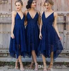bridesmaid dress shops 2017 new style tea length navy blue lace bridesmaid