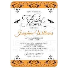 halloween bridal shower invitation with ornate borders bats and