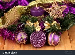 composition candles decorations purple gold stock photo