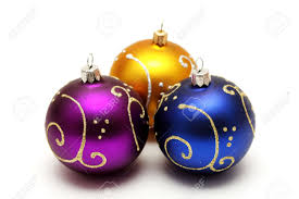 gold purple and dark blue christmas balls with gold pattern