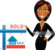 african american real estate agent with sold sign vector art