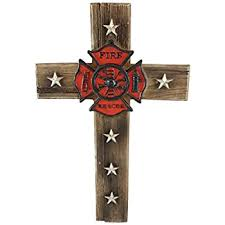 firefighter home decorations amazon com pine ridge firefighter fire and rescue wall cross home