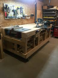 Workbench Designs For Garage Saw Table Work Bench Created Storage Cabinet On Side For All