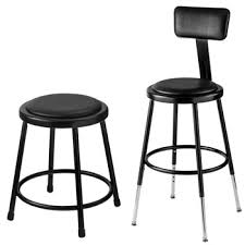 all black padded science lab stools by national public seating