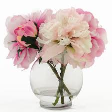 peony arrangement fuchsia light pink peonies and buds arrangement faux flowers