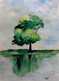 original watercolor green tree painting simple reflection