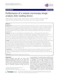 performance of a malaria microscopy image analysis slide reading