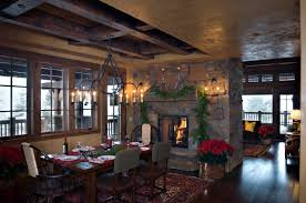 fireplace fireplace christmas decorations with rustic dining