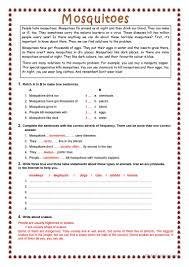 mosquitoes worksheet free esl printable worksheets made by teachers