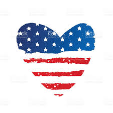 Usa Flag Vector American Flag In The Shape Of A Large Heart Stock Vector Art