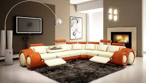 4087 sectional sofa in off white u0026 orange bonded leather by vig